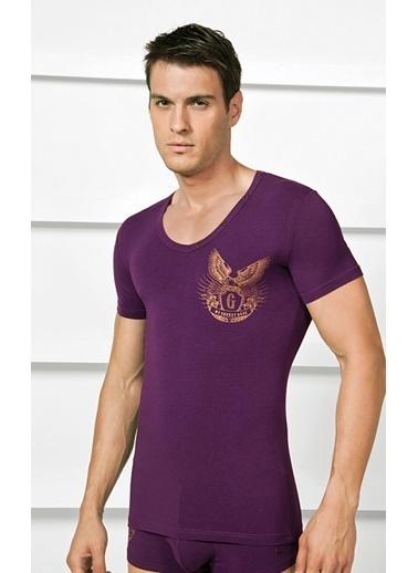Goldenbay Erkek Pijama Pamuklu Baskılı Tek Üst Tshirt Mor
